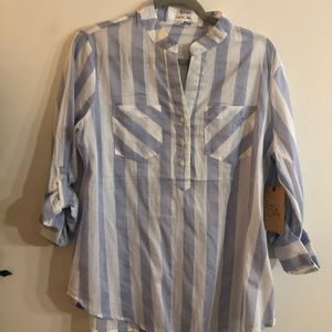 BRAND NEW WITH TAGS! Blue and white stripe blouse!